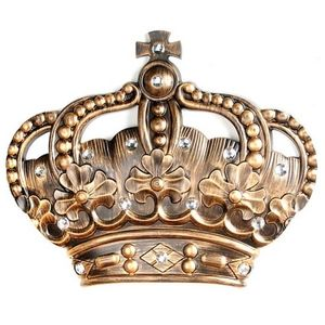 Kirklands Wall Art - His/Her Crown Gold Jeweled Wall Plaque, Set of 2
